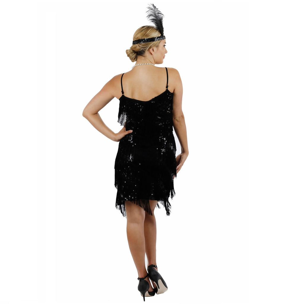 Black Fringe Flapper Dress Back View