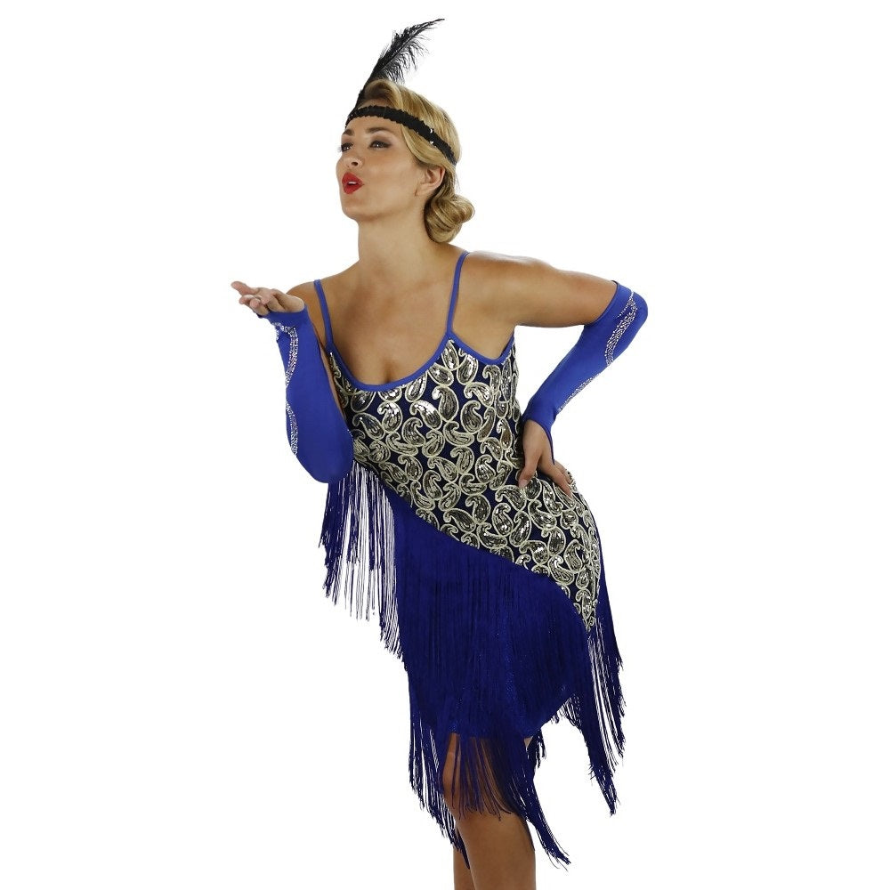 Blue Latin Flapper Dance Dress Close Up
