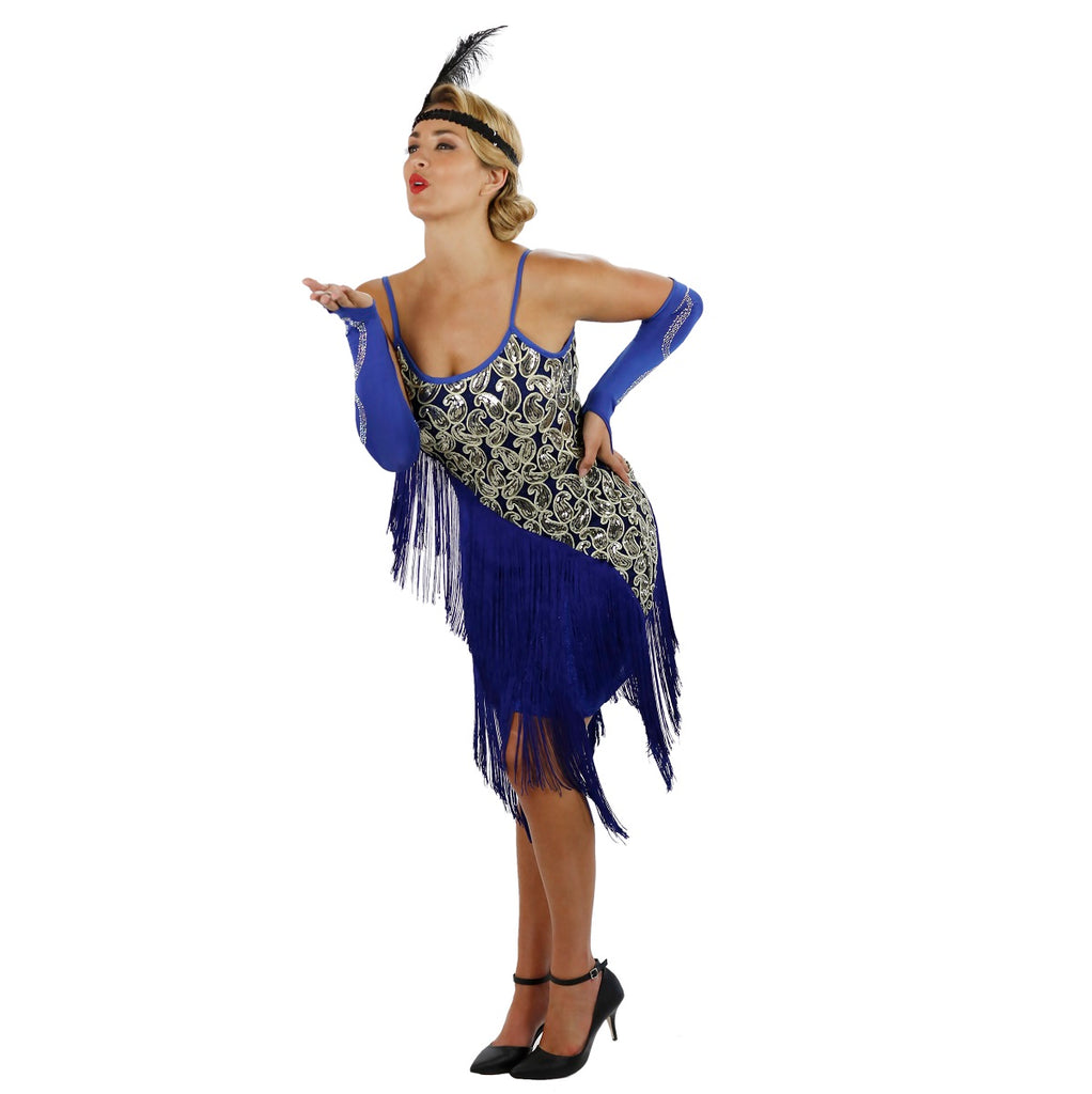 Blue Latin Flapper Dance Dress