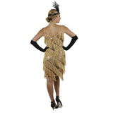 Gold Fringe Flapper Dress Back View