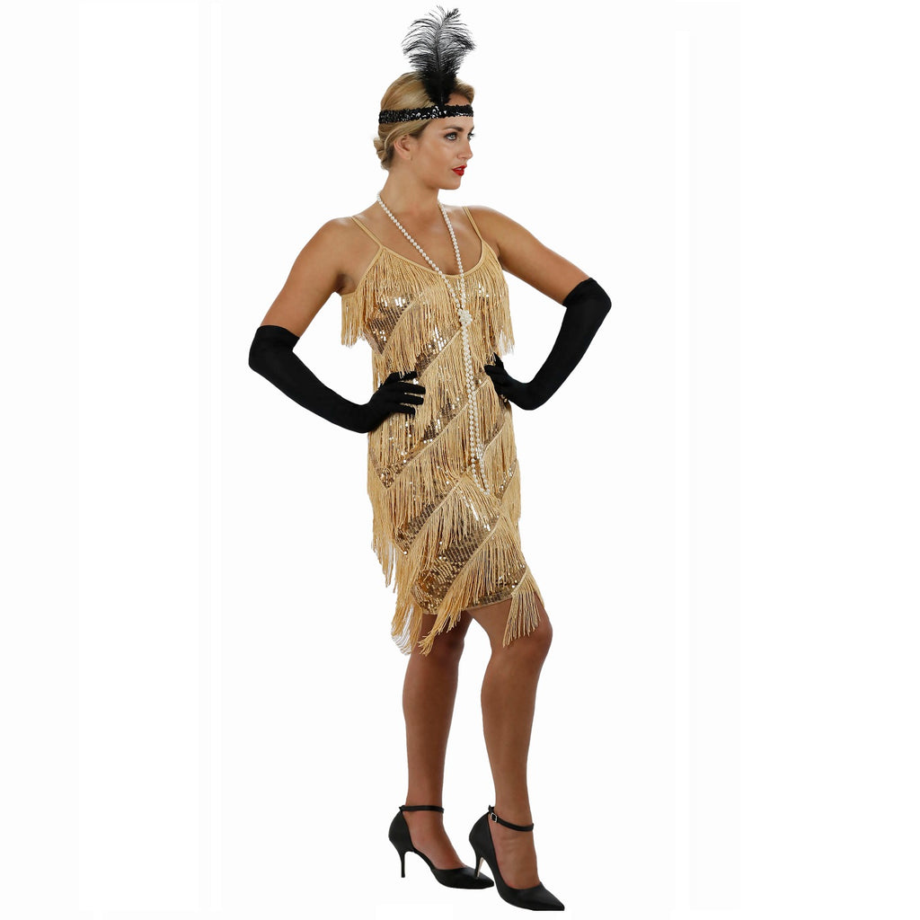 Gold Fringe Flapper Dress Side View