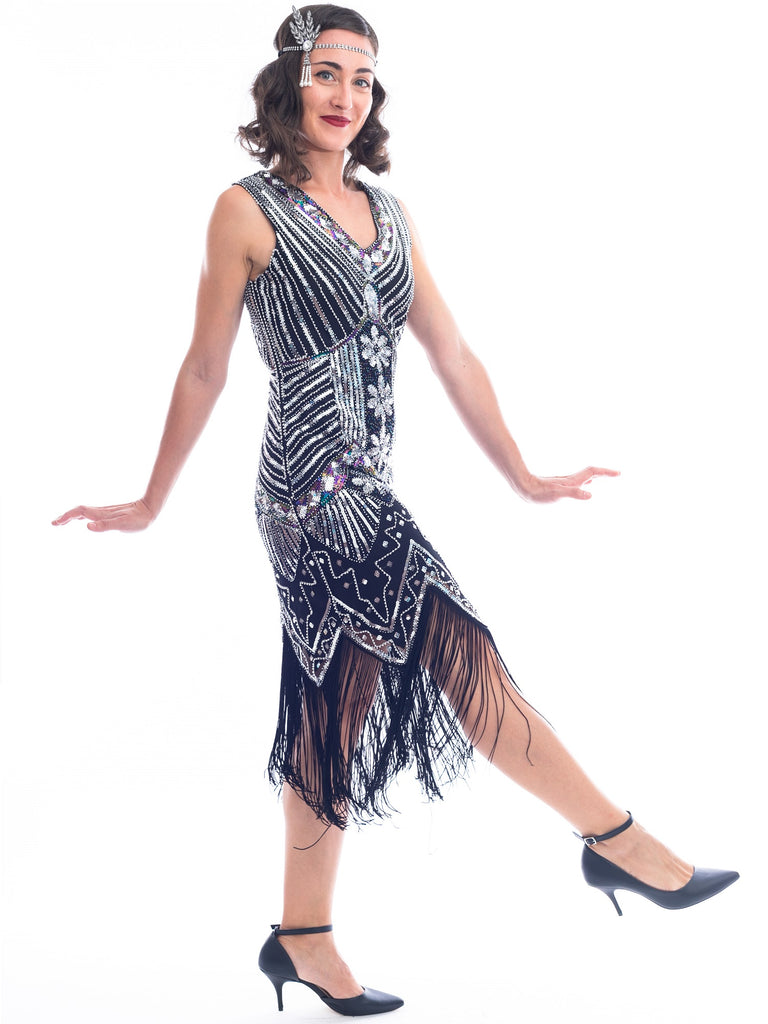 Plus Size Black & Silver Beaded Ella Flapper Dress
