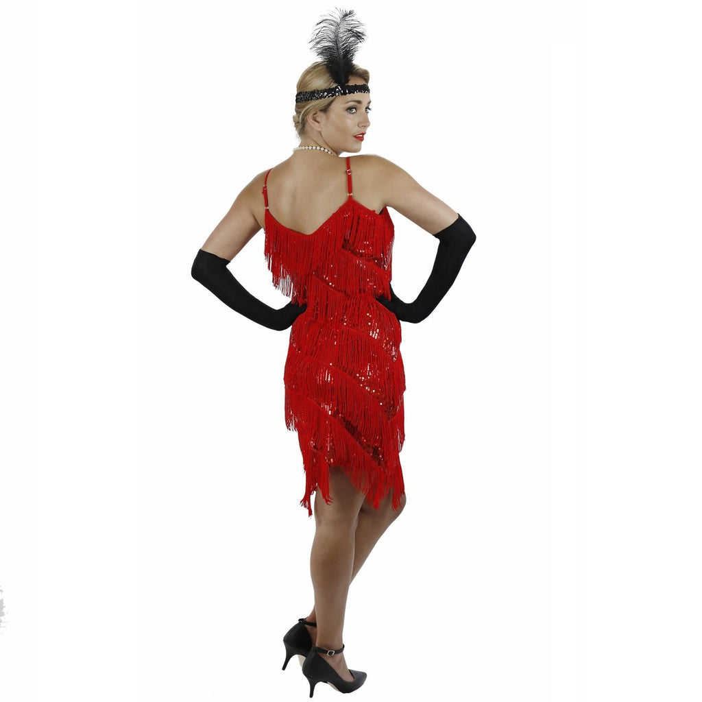 Red Fringe Flapper Dress Back View