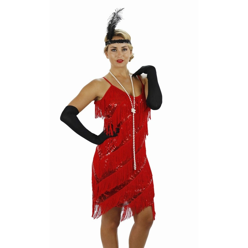 Red Fringe Flapper Dress