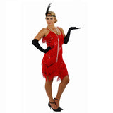 Red Fringe Flapper Dress Full View