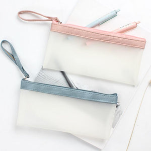 Simple Hold Translucent PU Pencil Case Stationery Storage Organizer Bag School Office Supply Escolar