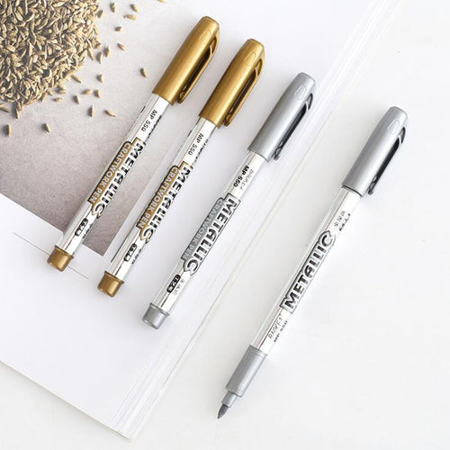 Gold Silver Craft Pen Colorful Highlighters Promotional Markers Gift Stationery