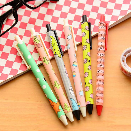 6 pcs/lot 0.5mm Creative Funny Korean Illustration Gel Pen Ink Pen Promotional Gift Stationery School Office Supply