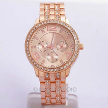 Load image into Gallery viewer, Fashion Women Rhinestone Quartz Wrist Watch Unisex Stainless Steel Large Dial Case Rhinestone Quartz Wrist Watch Multi Color