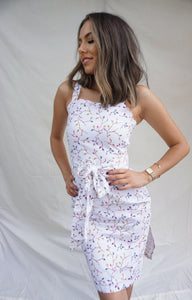 Petite 'chasing sunsets' dress in linen