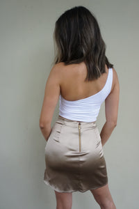 Petite 'ready to flaunt it' skirt in khaki gold