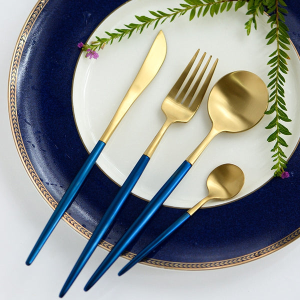 Flatware Arya Blue Gold Cutlery Set - Venetto Design
