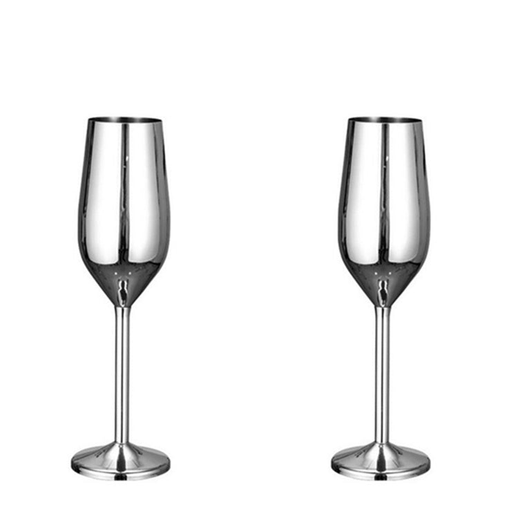 Ibiza Stainless Steel Glass - Venetto DesignSILVER / Champaign Glass - 6 Pieces