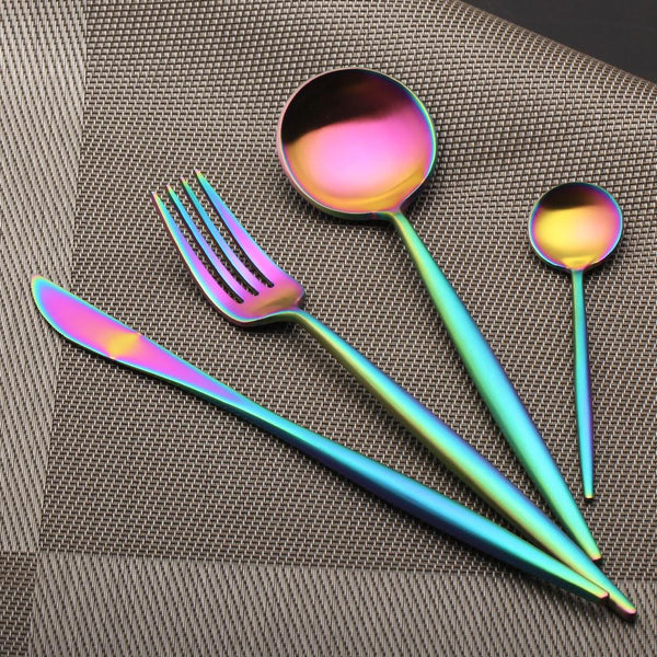 Flatware Arya Iridescent Cutlery Set - Venetto Design24 Pieces Set