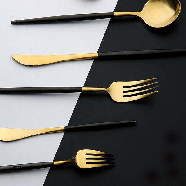 Flatware Arya Black Gold Cutlery Set - Venetto Design24 pieces set
