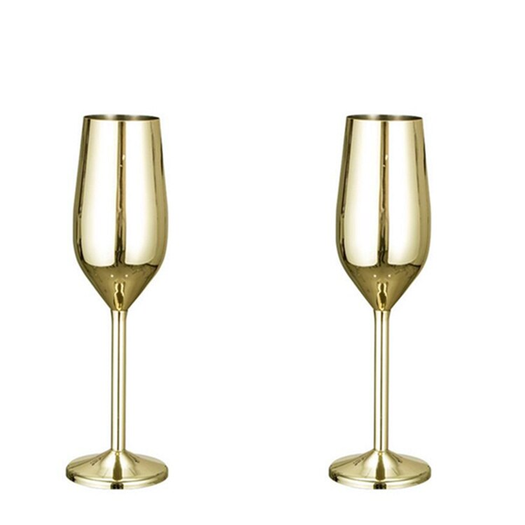 Ibiza Stainless Steel Glass - Venetto DesignGOLD / Champaign Glass - 6 Pieces