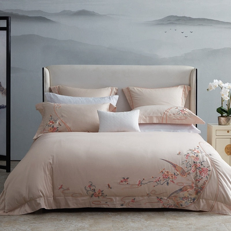 Hanna Garden Embroidered Egyptian Cotton Duvet Cover Set - Venetto Design