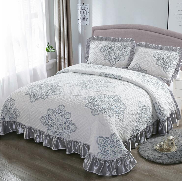 Aabirah Wide Ruffled Edge 100% Cotton Bedspread Set - Venetto Design10 / 230X250 cm 3pcs
