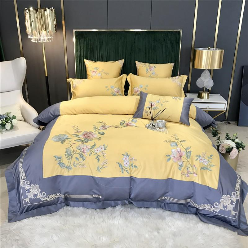 Izabella Floral Embroidered Border Satin And Cotton Duvet Cover Set - Venetto DesignColor 3 / Flat Bed Sheet / Queen size 4Pcs