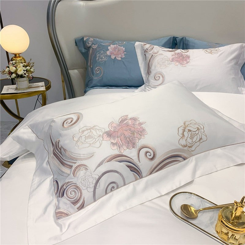 Dulce Swirl And Rose Embroidered Egyptian Cotton Duvet Cover Set - Venetto Design