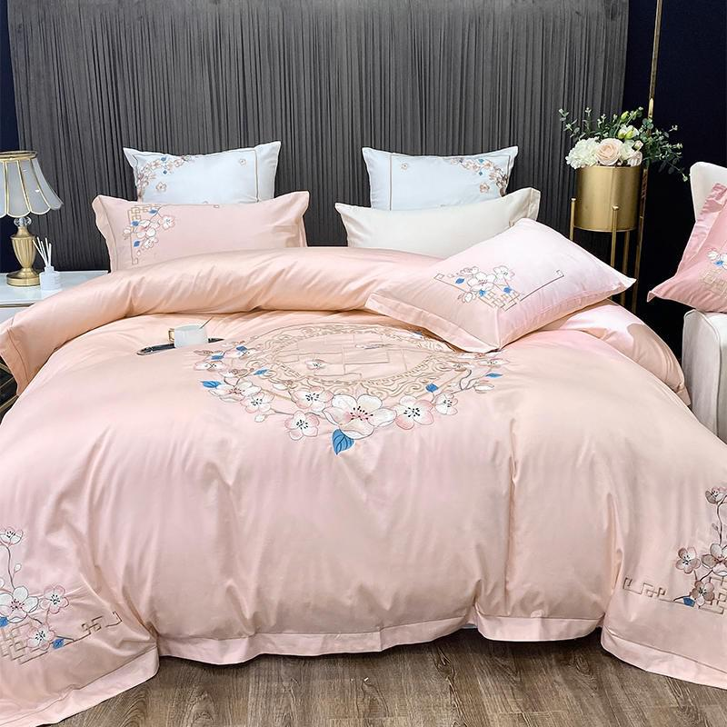Nina Rounded Floral Motif 100% Egyptian Cotton Duvet Cover Set - Venetto DesignColor 6 / Flat Bed Sheet / Queen size 4Pcs