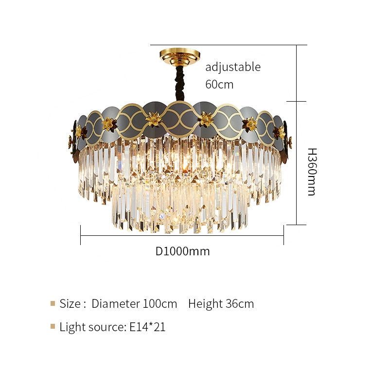 Pietro 3D-Floral Scalloped Edge Two-Tier Crystal Chandelier - Venetto DesignDia100cm H36cm / Warm light