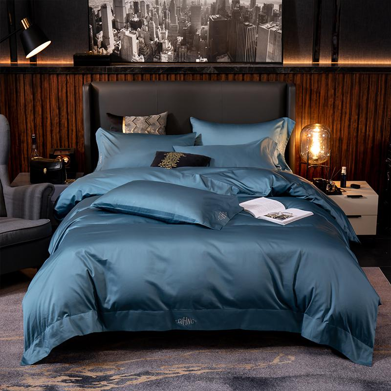 Lakibia Silky Soft Egyptian Cotton Bedding Set - Venetto DesignTeal Blue / Fitted Bed Sheet / King size 4Pcs