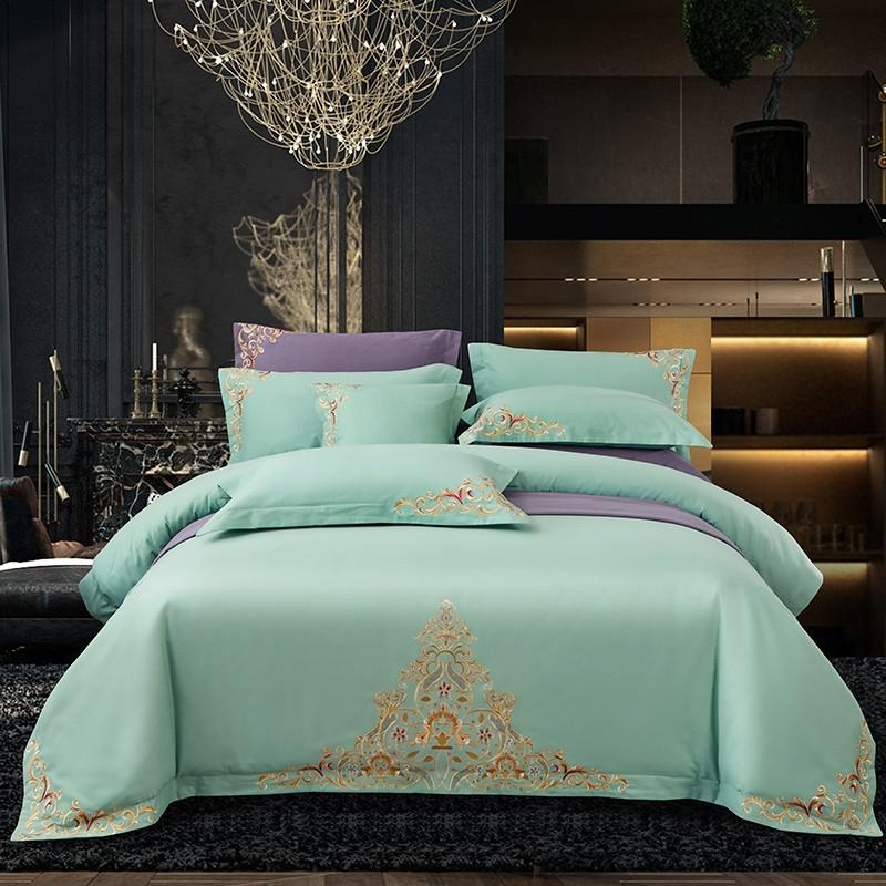 Mariana Centered Embroidered Motif 100% Cotton Duvet Cover Set - Venetto Design6 / Queen size 4Pcs