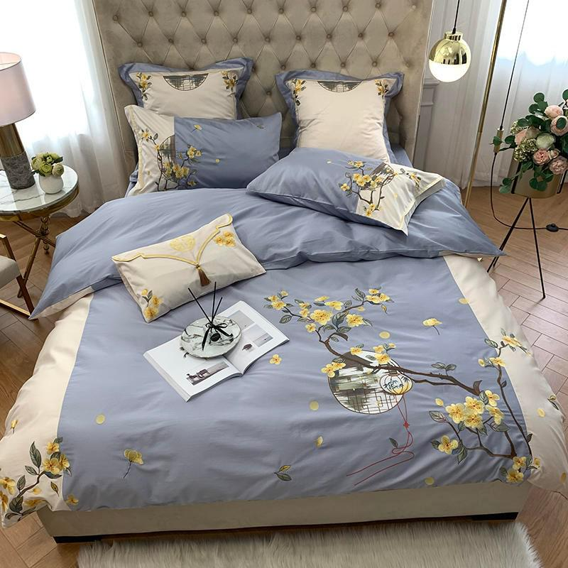 Violet Two-Tone Chinoiserie Embroidered Egyptian Cotton Duvet Cover Set - Venetto DesignColor 2 / Queen size 4Pcs