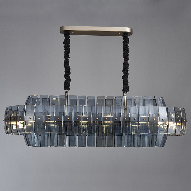 Marissa Curved Smoky Glass And Copper Bar Chandelier - Venetto DesignBlack / L105xW30xH35cm / Warm light 3000K