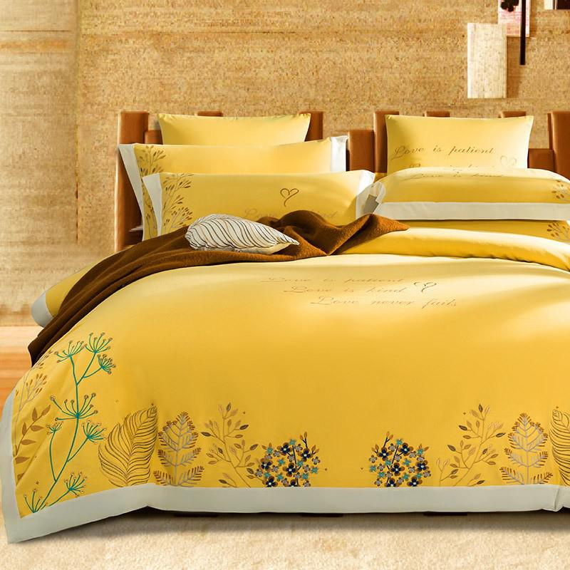 Taylor Floral Embroidered Border Egyptian Cotton Duvet Cover Set - Venetto DesignColor 5 / Flat Bed Sheet / Queen size 4Pcs