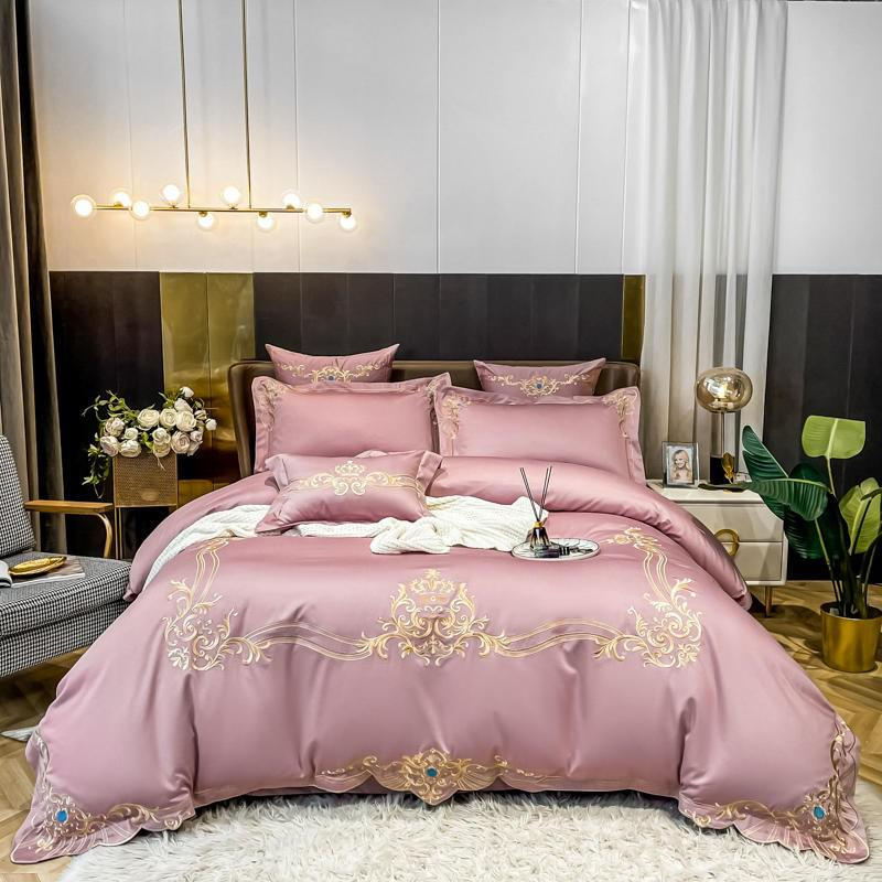 Yasmin Embroidered Motif Framed 100% Cotton Duvet Cover Set - Venetto DesignColor 3 / Flat Bed Sheet / Queen size 4Pcs