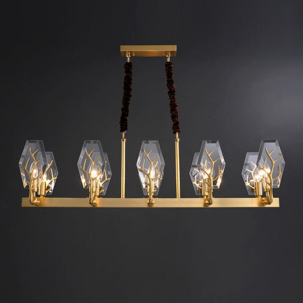 Briana Modern Branch Detailed Crystal And Copper Bar Chandelier - Venetto Design