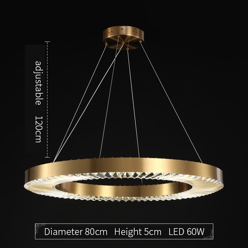 Kara Minimalist Metal And Glass Ring Chandelier - Venetto DesignDiameter 80cm / Dimmable With Remote