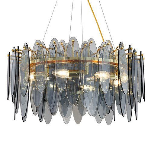 Leslie Frosted Textured Teardrop Glass Ring Chandelier - Venetto Designcolor-1 / Dia60cm / warm light 3000K