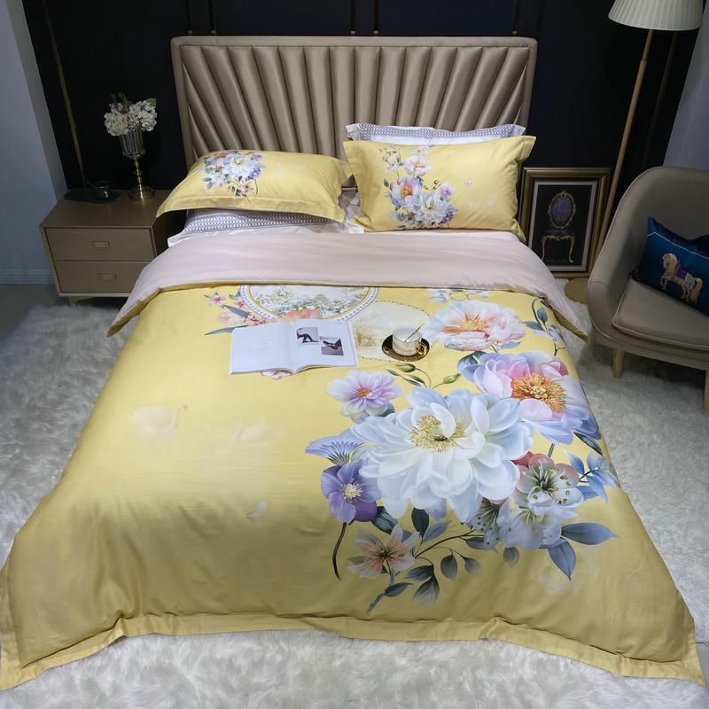 Jennifer Vintage Bouquet Printed Egyptian Cotton Duvet Cover Set - Venetto DesignColor 9 / Queen size 4Pcs