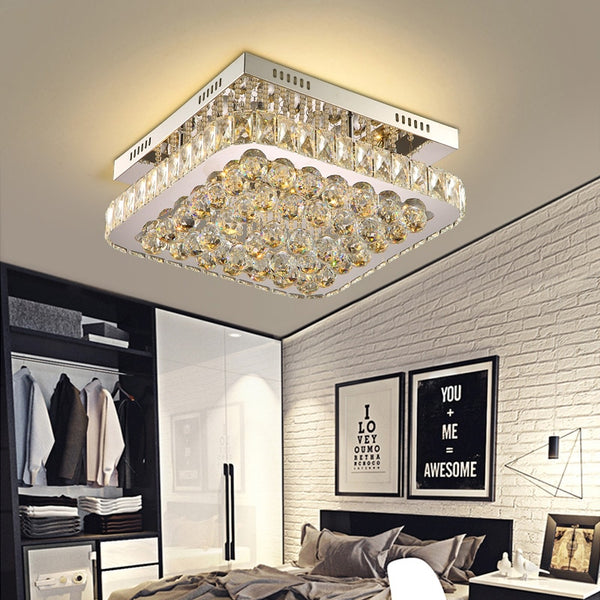Leon Rounded Rectangle Crystal And Metal Chandelier - Venetto DesignL45 W45 H19 CM / Wall Control 3 color
