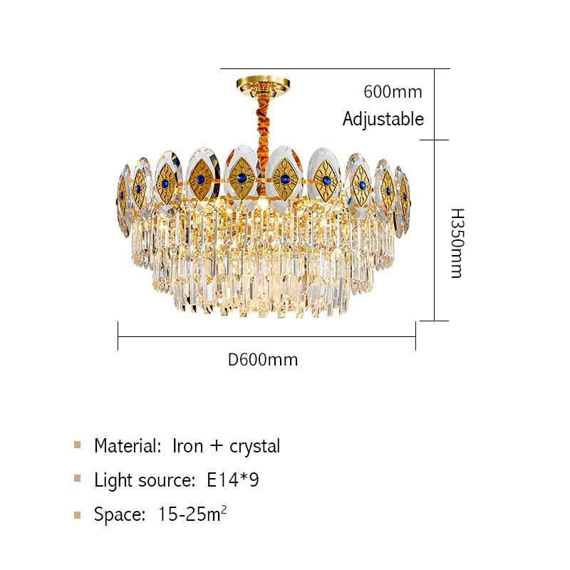 Eliana Oval Inlay Three-Tiered Crystal Chandelier - Venetto DesignDia60cm H30cm / Warm light