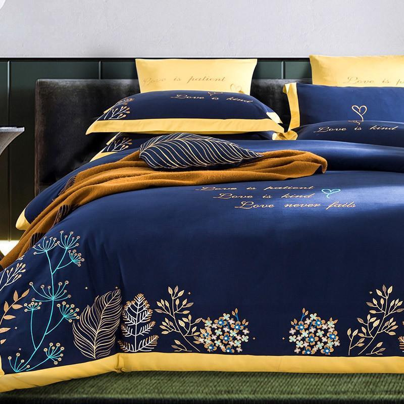 Taylor Floral Embroidered Border Egyptian Cotton Duvet Cover Set - Venetto DesignColor 2 / Flat Bed Sheet / Queen size 4Pcs