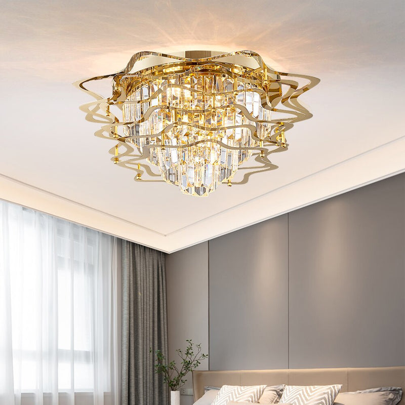 Molly Five Tier Round Crystal And Copper Ring Chandelier - Venetto Design