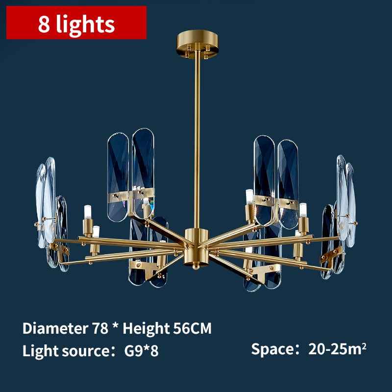 Isak Modern Rounded Metal And Crystal Chandelier - Venetto Design8 lights / Warm Light