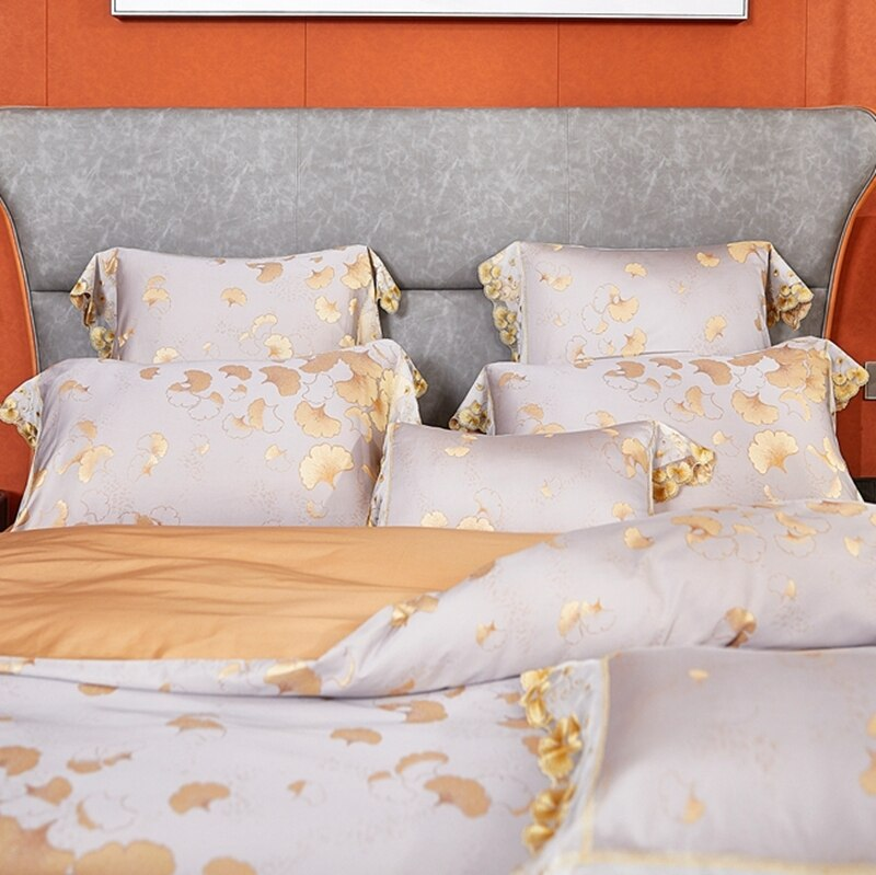 Neelgur Ginkgo leaves Jacquard Soft Sateen Cotton Luxury Bedding set