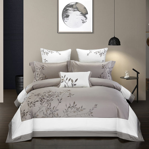 Zuhur Two-Tone Embroidered Egyptian Cotton Duvet Cover Set - Venetto Design