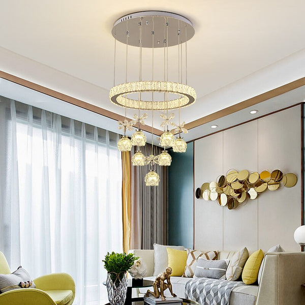 Jada Two-Tiered Crystal Petal Ball And Ring Chandelier - Venetto Design