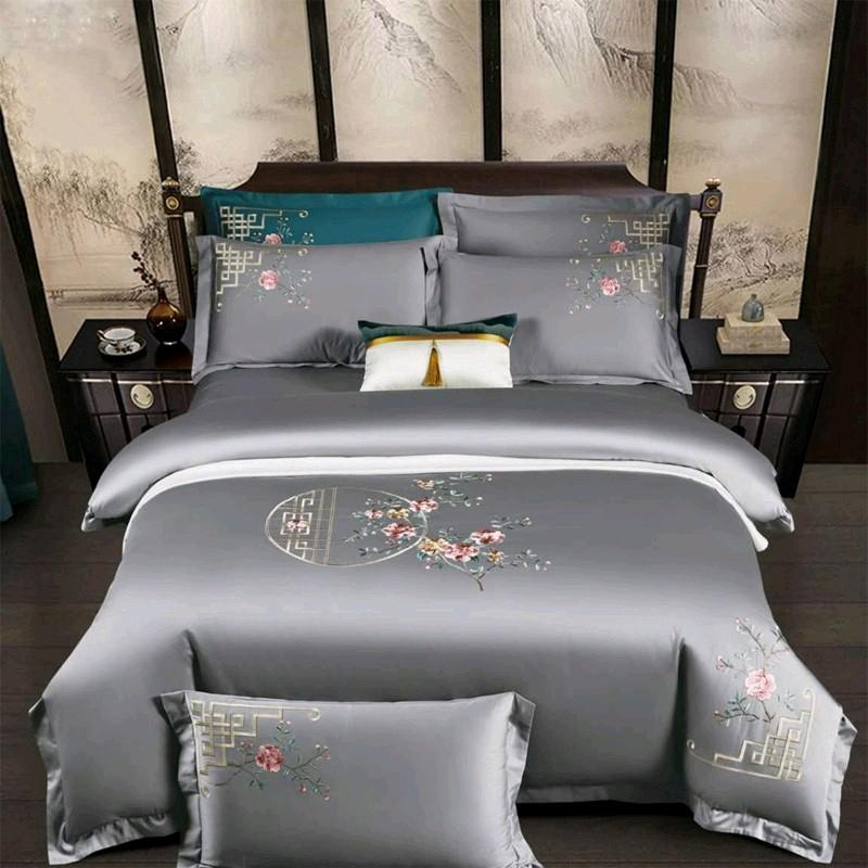 Priscilla Floral Embroidered Egyptian Cotton Duvet Cover Set - Venetto DesignColor 7 / Flat Bed Sheet / Queen size 4Pcs