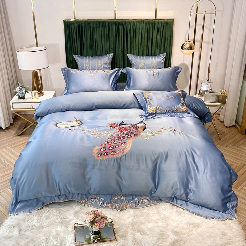 Phoebe Peacock Embroidered Satin And Cotton Duvet Cover Set - Venetto DesignColor 6 / Bed Sheet Style / Queen Size 4pcs