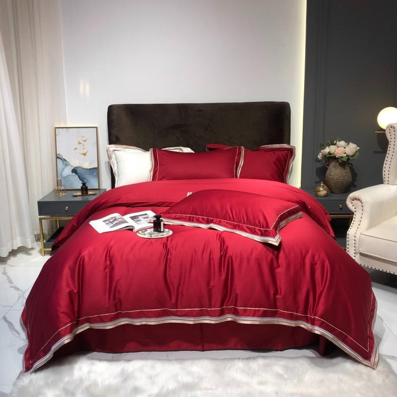 Scarlett Modern Threadwork Border 100% Egyptian Cotton Duvet Cover Set - Venetto DesignColor 6 / Flat Bed Sheet / Queen size 4Pcs