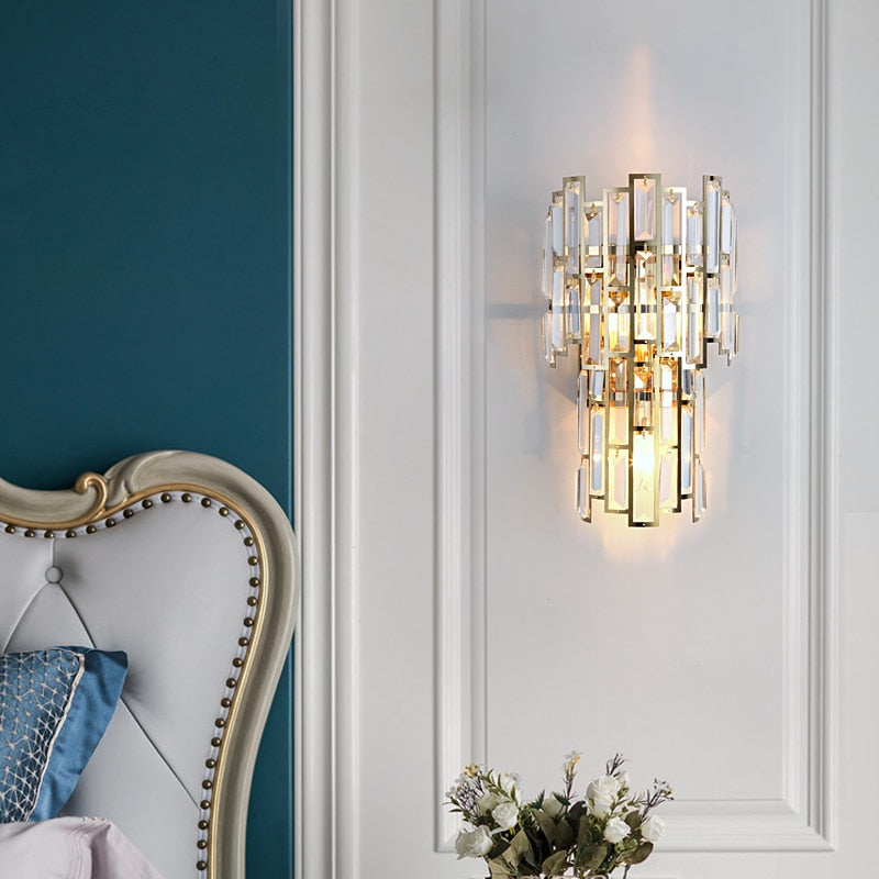Clare Art Deco Iron And Crystal Wall Lamp - Venetto Design