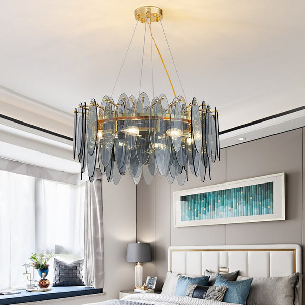 Leslie Frosted Textured Teardrop Glass Ring Chandelier - Venetto Design