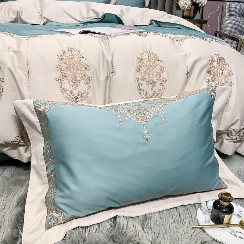 Shayla Color-Blocked Embroidered Motif Cotton Duvet Cover Set - Venetto Design